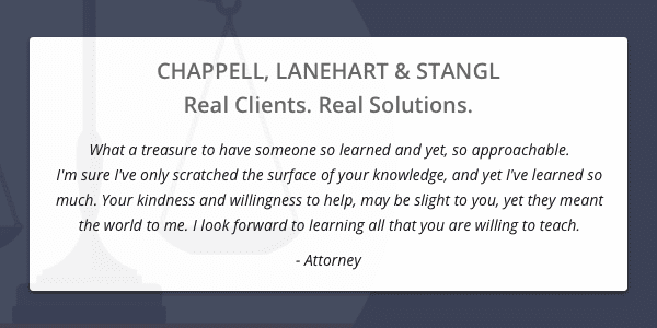 Client testimonial from an attorney
