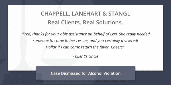 Client testimonial for case dismissed for alcohol violation