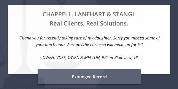 Client testimonial regarding successful expunged record