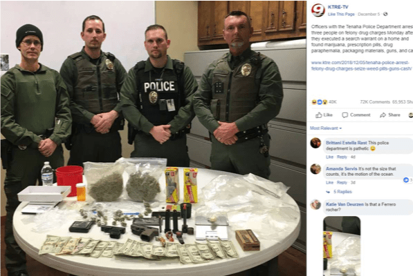 Tenaha Police Department officers in Texas gather around a recent drug bust